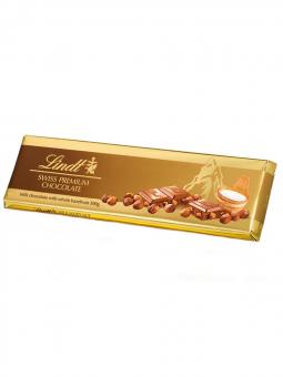 Lindt Tablet Gold pieninis šokoladas su kepintais riešutais 300g